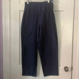 Notations navy blue high rise silk women's pants